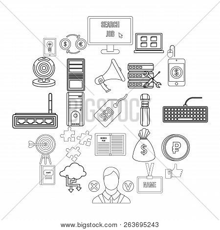 Clerk Icons Set. Outline Set Of 25 Clerk Vector Icons For Web Isolated On White Background