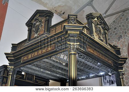 Thuir, France - September 5, 2018: Old Tasting Booth Of The Byrrh Company Used At The Time To Make K