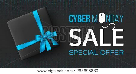 Cyber Monday Sale Horizontal Poster Or Banner For Seasonal Discounts. Black Box With Realistic Silk