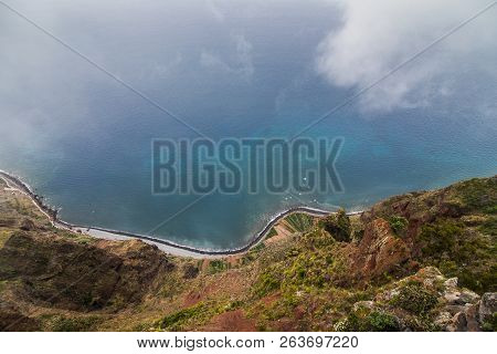 View From Cabo Girao, Madeira From The Highest Cliff Of Europe Towards Funchal .