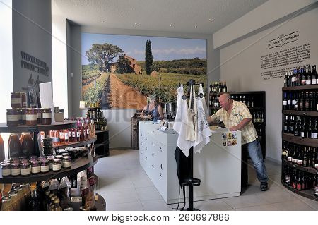 Thuir, France - September 5, 2018: Exhibition And Wine Shop At The Entrance To The Cellars Of The By