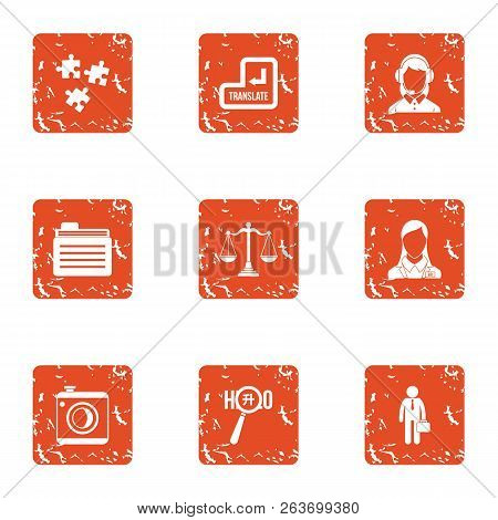 Weighted Solution Icons Set. Grunge Set Of 9 Weighted Solution Vector Icons For Web Isolated On Whit