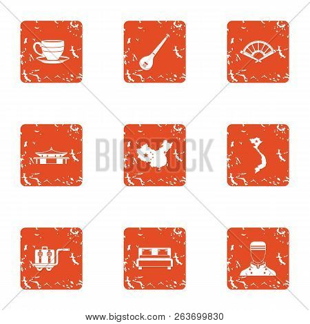 Boarding Home Icons Set. Grunge Set Of 9 Boarding Home Vector Icons For Web Isolated On White Backgr