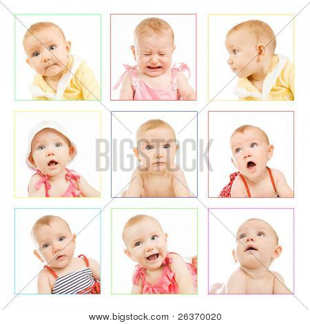 different photos of an adorable baby girl; funny faces