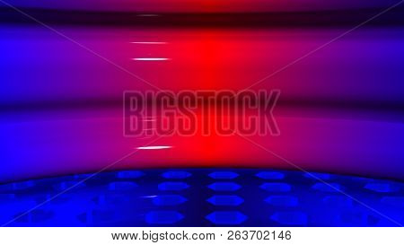 Moderno Fondo Circular Rojo Azul . El Piso Esta Hecho De Cristal Con Patrones Hexagonales. La Pared