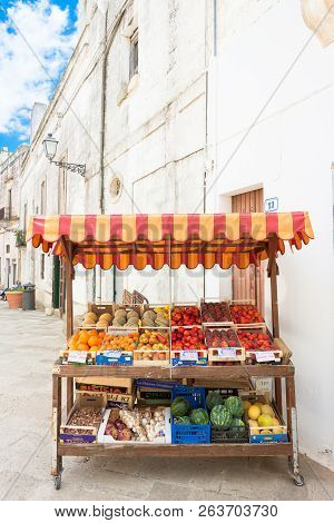 Specchia, Apulia, Italy - May 29, 2017 - A Fruit Stand In The Old Town Of Specchia