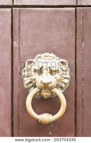 Specchia, Apulia, Italy - A Golden Old Door Knob In The Shape Of A Lion