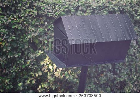 Black Retro Mail Box On Green Vintage Background, Busines Delivery Concept