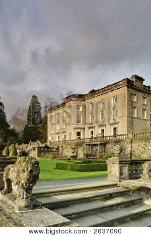 A Large Country house at Rydal in the English lake District with a formal garden designed by Thomas Mawson poster