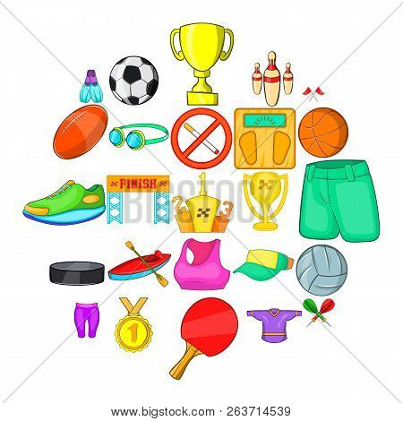 Competitive Game Icons Set. Cartoon Set Of 25 Competitive Game Vector Icons For Web Isolated On Whit