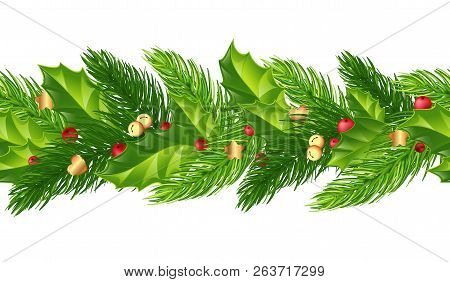 Green Christmas Garlands Of Holly, Berries,bells And Golden Ornaments.horizontal Seamless Background