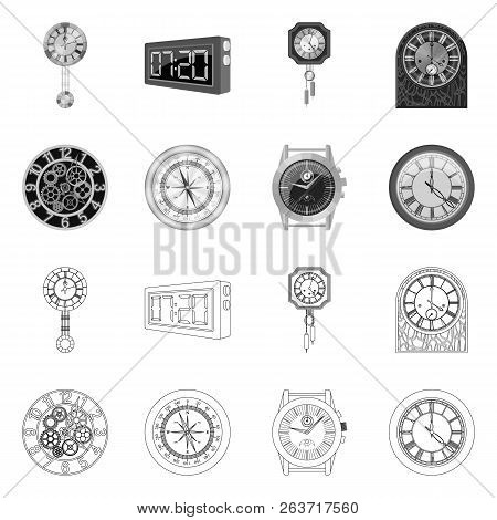 Isolated Object Of Clock And Time Icon. Collection Of Clock And Circle Stock Vector Illustration.