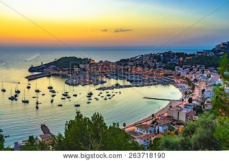 Spain Mediterranean Sea, Idyllic Sunset At Port De Soller On Majorca, Balearic Islands