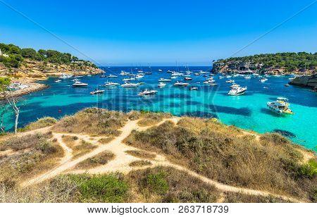 Idyllic Bay Of Portals Vells With Many Luxury Yachts, Mallorca Island, Spain Mediterranean Sea