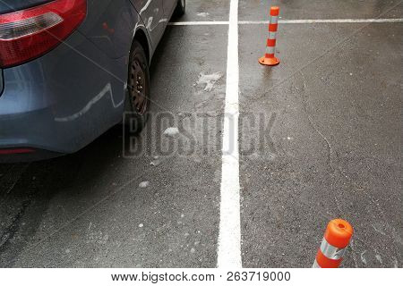 Parking Space. Vacancy. Parking Spaces With White Traffic Lanes.