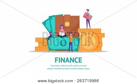 Modern Flat Illustration Concept For Finance Or Business Web Page Landing With Little People Holding