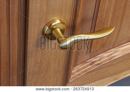 Metal Door Handle In A Wooden Door, Closeup. Door Handle In The Interior.