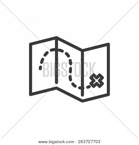 Treasure Map Vector Icon On White Background. Treasure Map Icon In Modern Design Style. Treasure Map