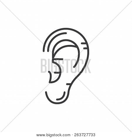 Human Ear Vector Icon On White Background. Human Ear Icon In Modern Design Style. Human Ear Vector I