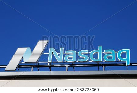 Stockholm, Sweden - July 4, 2016: Close-up Of The Nasdaq Stock Exchange Sign Located At Stockholm Br