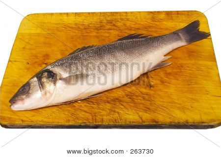 prepared fish on a board isolated over a white background poster