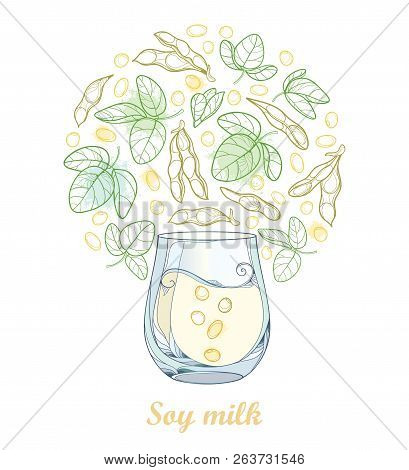 Vector Outline Glass Of Soy Milk And Bunch With Soybean Pod With Beans And Ornate Leaf In Pastel Gre