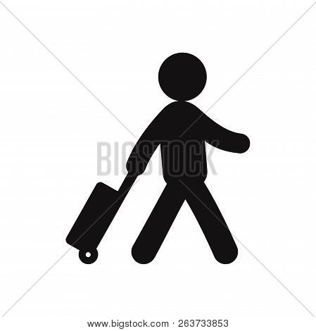 Traveler With A Suitcase Icon Isolated On White Background. Traveler With A Suitcase Icon In Trendy