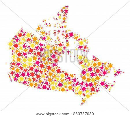 Colored Map Of Canada.Collage Map Canada Vector Photo Free Trial Bigstock