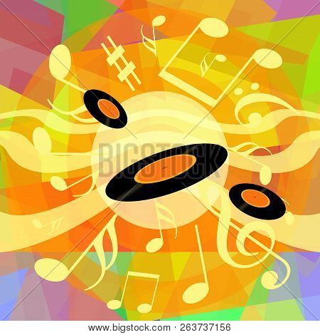 Bright Music Background Design With Vinyl Records And Musical Notes