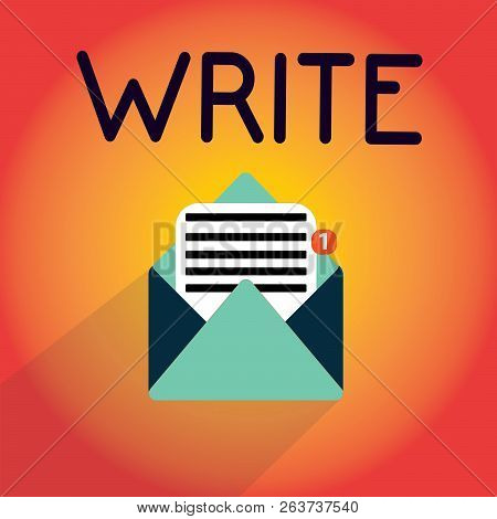 Writing Note Showing Write. Business Photo Showcasing Mark Letters Words Or Symbols On Surface Typic