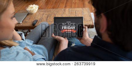 Black Friday Promotion Sale On Digital Tablet Screen