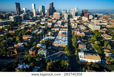 Aerial Denver Colorado Skyline Cityscape Under Perfect Morning Sunshine In The Mile High City With L