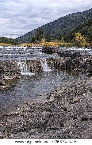 Small Cascades On The Kootenai River By The Kootenai Falls Near Libby, Montana.