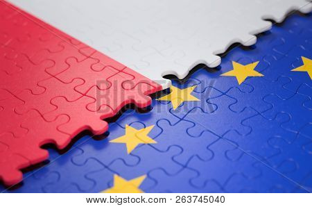 Flag Of The Poland And The European Union In The Form Of Puzzle Pieces In Concept Of Politics And Ec