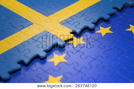 Flag Of The Sweden And The European Union In The Form Of Puzzle Pieces In Concept Of Politics And Ec