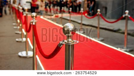 Red Carpet And Barrier On Entrance Before Opening Ceremony