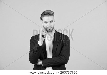 Guy Bearded Attractive Shows Warning Gesture. Attention Concept. Man With Beard Unshaven Guy Looks H