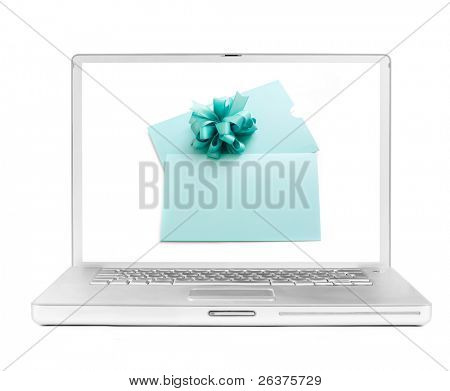 laptop with a present certificate on the screen