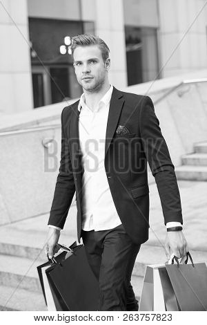 Man Stylist Professional Shopper. Clothes Courier. Stylist Buy Fashionable Clothes Client. Man Forma