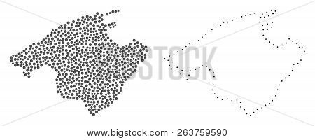 Dotted And Frame Map Of Majorca Designed With Dots. Vector Gray Abstraction Of Map Of Majorca. Conne