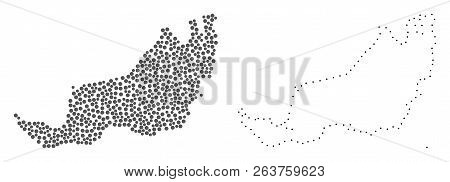Dot And Contour Map Of Malaysian Sarawak Formed With Dots. Vector Grey Abstraction Of Map Of Malaysi