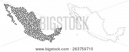 Dotted And Contour Map Of Mexico Created With Dots. Vector Gray Abstraction Of Map Of Mexico. Connec