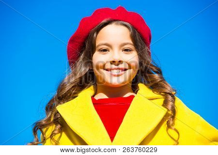 Girl Walk Blue Sky Background. Hat Accessory French Fashion Detail. Kid Girl Bright Hat Beret. Autum