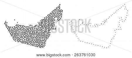 Dot And Frame Map Of United Arab Emirates Formed With Dots. Vector Grey Abstraction Of Map Of United