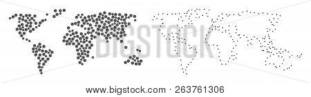 Dotted And Contour Map Of World Formed With Dots. Vector Grey Abstraction Of Map Of World. Connect T
