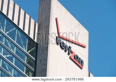NEW YORK - JULY 10, 2018: Verizon building in New York. Verizon is a large American broadband and telecommunications company with 110.9 billion USD in revenue.