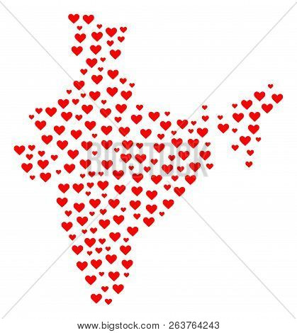 Mosaic Map Of India Created With Red Love Hearts. Vector Lovely Geographic Abstraction Of Map Of Ind