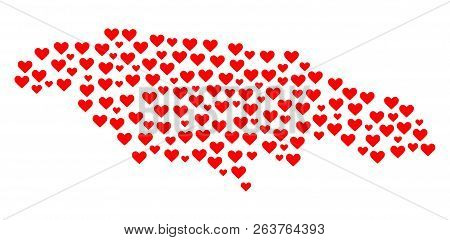 Mosaic Map Of Jamaica Composed With Red Love Hearts. Vector Lovely Geographic Abstraction Of Map Of