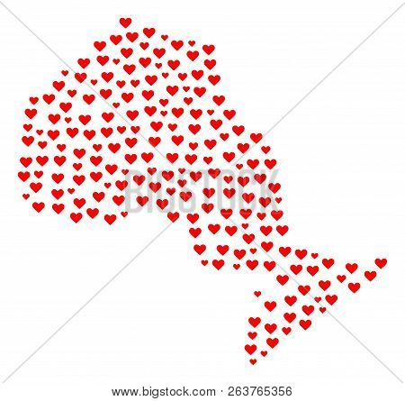 Collage Map Of Ontario Province Composed With Red Love Hearts. Vector Lovely Geographic Abstraction