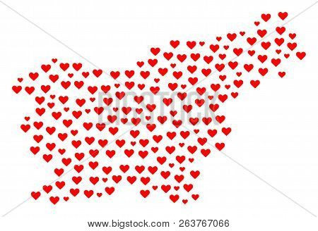 Mosaic Map Of Slovenia Created With Red Love Hearts. Vector Lovely Geographic Abstraction Of Map Of